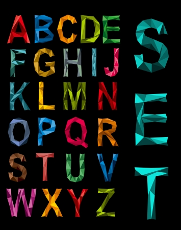 Faceted complete alphabet set in the colours of the rainbow in uppercase on a black background Vector