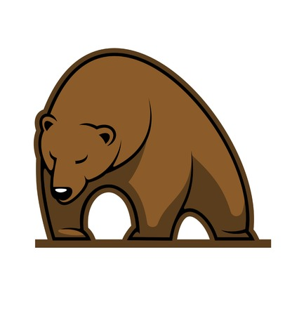 Cartoon big brown bear or grizzly walking with its head down on white