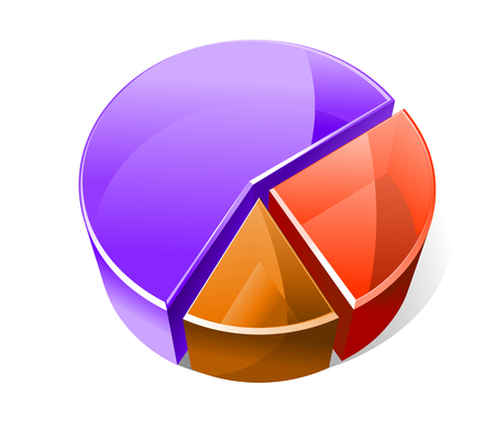 Colourful three dimensional pie graph with three slices in red, blue and brown showing analytical business statistics and percentages of the whole Vector