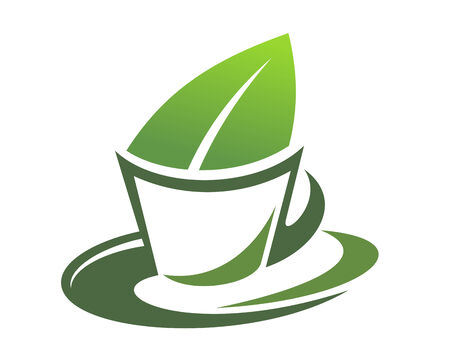 Cartoon illustration of herbal tea with a green leaf in the cup Vector