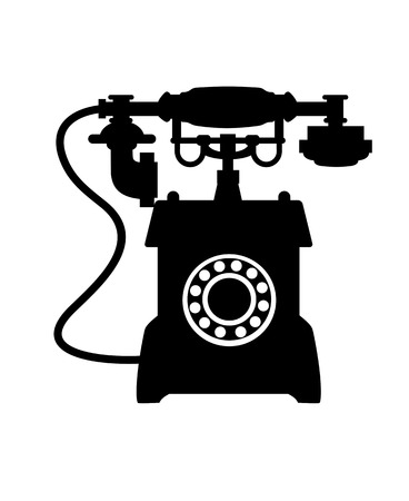 call history: Black and white illustration of the silhouette of an old vintage telephone with a mouthepiece handset resting on a cradle