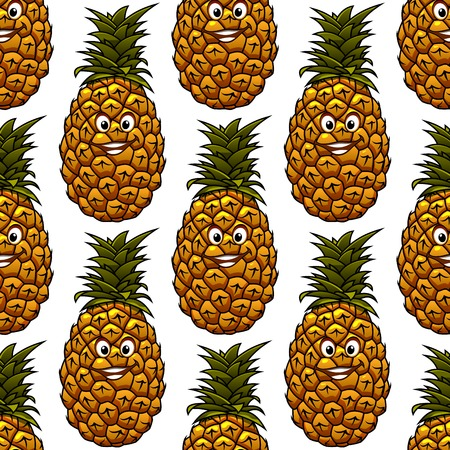 Seamless background with funny cartoon happy pineapple character, on white background Vector
