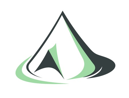 pyramidal: Sketch of a green tepee used traditionally by Indians or pyramidal or conical tent with an open flap to the side