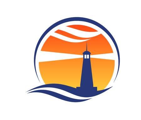 MARITIME: Lighthouse icon at sunset with beams of light shining through an orange sky from a silhouetted lighthouse with an ocean wave below Illustration