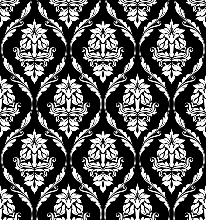 Black and white damask-style design of floral arabesques in a heavy repeat seamless pattern suitable for print and textile Vector