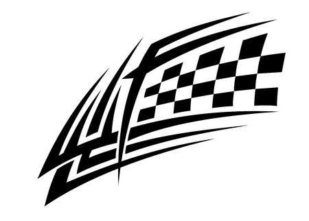 checker flag: Racing tattoo in tribal style for sports design