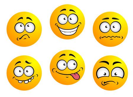 Conjunto de seis iconos gestuales amarillos redondos que muestran la expresión facial que representa la felicidad, la tristeza, tímido, desconcertado, avergonzado, lengua y dientes