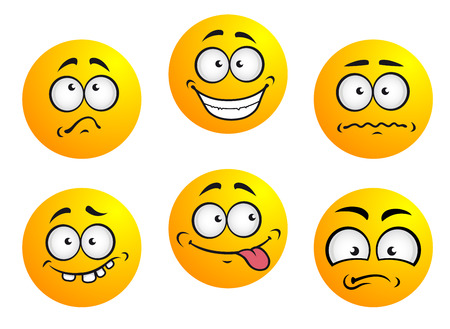gleeful: Set of six round yellow emoticons showing facial expression depicting happiness, sadness, bashful, nonplussed, embarrassed, tongue out and toothy