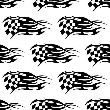 Seamless pattern of checkered black and white flag at the motor races with flowing motion lines to show the speed of the passing cars Vector
