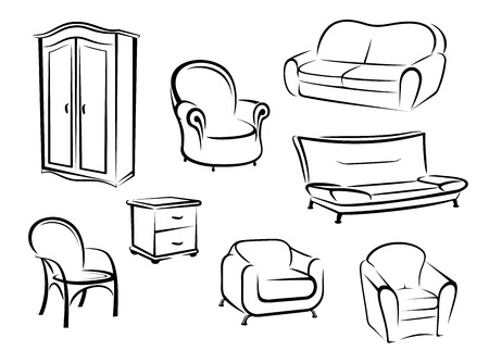 Collection of doodle sketches in black and white furniture designs showing a wardrobe, couch, sofa and various chairs Vector