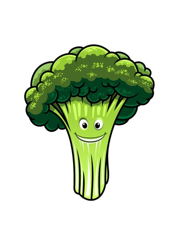 broccoli salad: Cartoon illustration of a piece of fresh healthy green broccoli with a happy smiling face on the stem