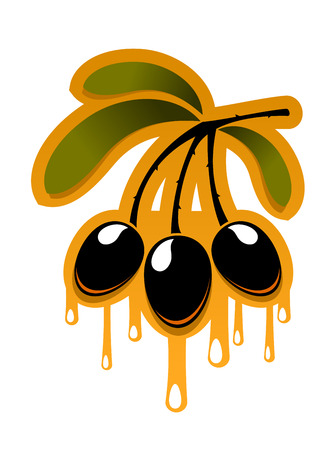 Cartoon illustration of a bunch off ripe olives dripping golden olive oil on a white background Vector