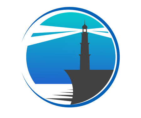 Circular blue lighthouse button or icon with a lighthouse on the edge of a pier with beams of light piercing the twilight to warn shipping of danger, depicting safety and security Vector