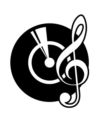 Black and white cartoon icon of a vinyl record and a musical clef depicting old retro long-play records now used to create disco music through mixing recordings
