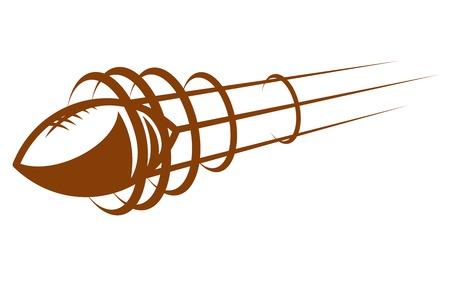 pelota rugby: Pelota de fútbol o rugby ampliación a través del aire apuntando en la dirección del recorrido con las líneas de movimiento, ilustración de dibujos animados de color marrón sobre un fondo blanco Vectores