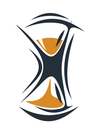 sandglass: Cartoon illustration of an hourglass with sand running through measuring passing time on white Illustration