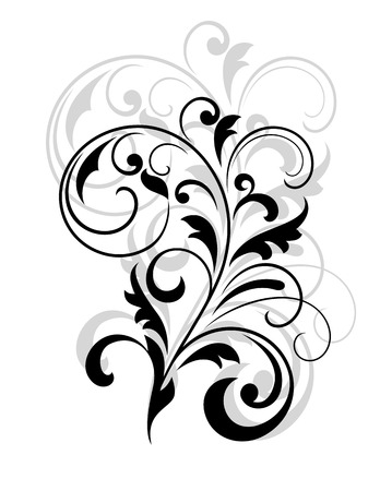 embellishment: Scrolling calligraphic floral design in black and white overlaid over a repeat enlargement behind in grey