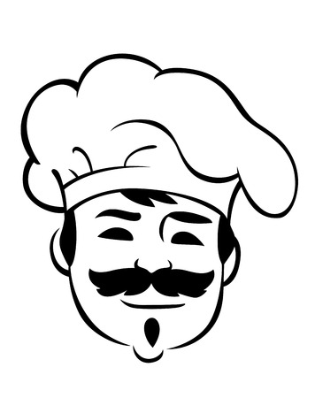 Smiling chef wearing a traditional toque or white cloth hat with a big bushy moustache, black and white face sketch