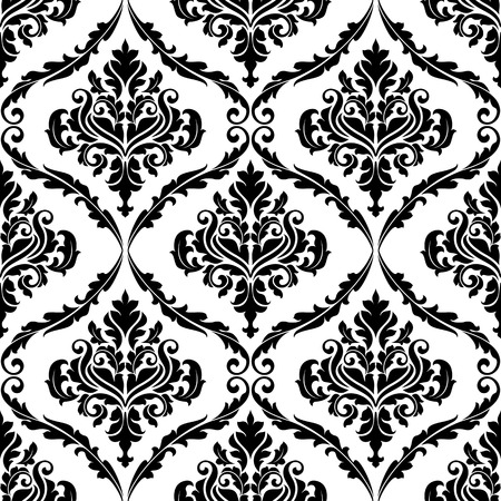 Black and white illustration of am ornate floral arabesque decorative seamless pattern with each motif in a foliate frame suitable for textiles and damask style fabric Illustration