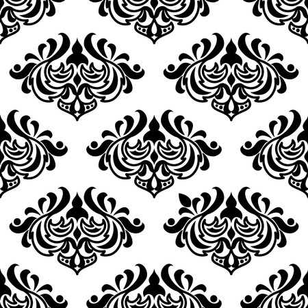 scroll tracery: Seamless damask-style floral pattern with foliate arabesques in black and white Illustration
