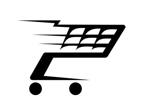 supermarket checkout: Black and white abstract illustration of a shopping cart moving fast, isolated on white background