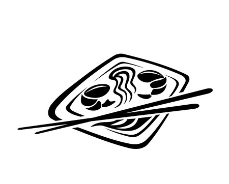 susi: Black and white doodle sketch icon depicting Japanese cuisine with chop sticks, noodles and shrimps on a plate of food Illustration