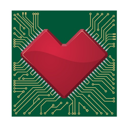 Stylized red heart shape on a circuit board for a specialist Valentines message for a loved one Vector