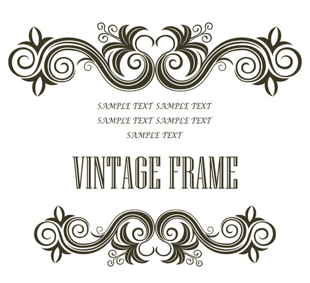 embellishments: Vintage framing header and footer with symmetrical swirling abstract floral designs in black and white with central blank copyspace on white as a design element for a document or manuscript Illustration