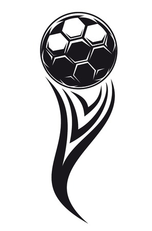Dynamic black and white modern illustration of a flowing player with a soccer ball ot football Stock Vector - 25157985