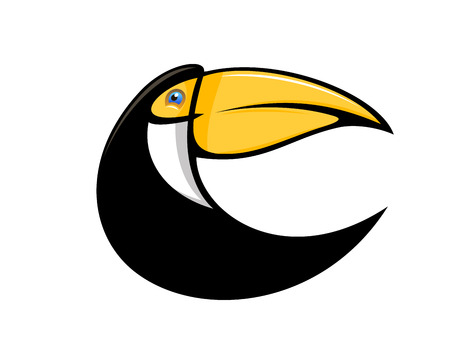 tucan: Cartoon illustration of a stylized curved toucan bird in black with a large colourful orange bill isolated on white
