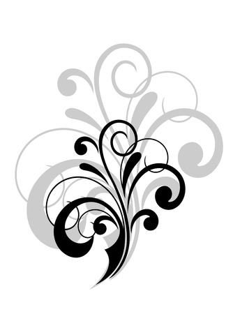 brocade: Simple swirling calligraphic design with a foliate motif in black and white with a larger grey repeat behind as a decorative element on white Illustration