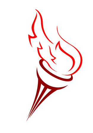 Cartoon illustration of a burning flame blowing in the wind in shades of red over a white background