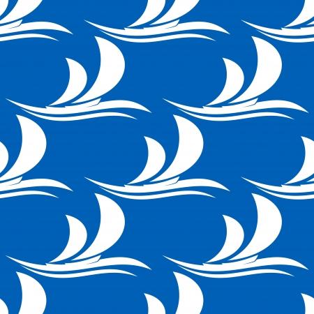 vague ocean: Circuler seamless sur un fond bleu d'un yacht stylis� avec ses voiles courbant dans la voile de vent sur un oc�an vague appropri� comme fond d'�cran ou pour les textiles Illustration