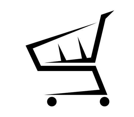 add to cart: Black and white abstract illustration of a shopping cart, isolated on white background Illustration