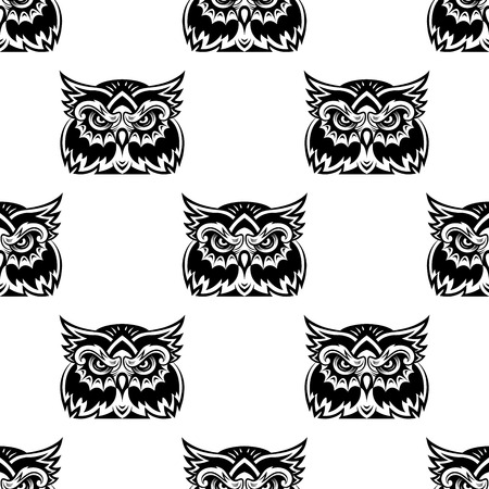 Black and white seamless vector pattern of a cute little wise old owl looking at the camera Vector