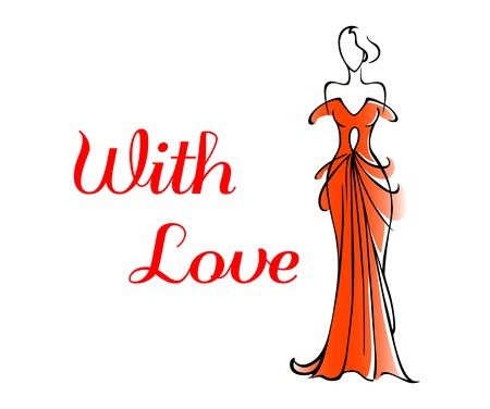 Elegant Valentines or anniversary greeting card for a loved one with a tall woman in a red gown alongside the words - With Love - doodle sketch on white Vector