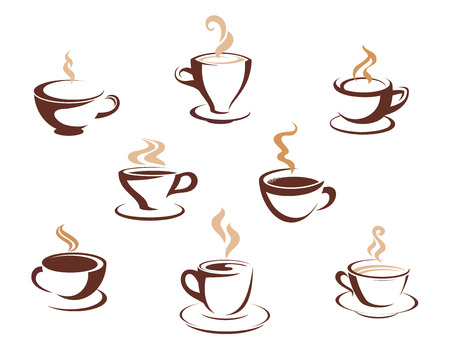 coffee beans background: Set of eight different steaming cups of hot beverages such a coffee, tea or hot chocolate in cups and mugs, sketched design elements