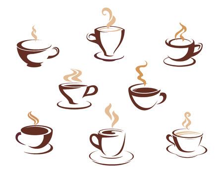 Set van acht verschillende dampende kopjes warme dranken zoals koffie, thee of warme chocolademelk in koppen en mokken, schetste ontwerpelementen