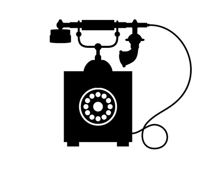 call history: Cartoon illustration of the black silhouette of an old vintage telephone with a dial and handset on a cradle