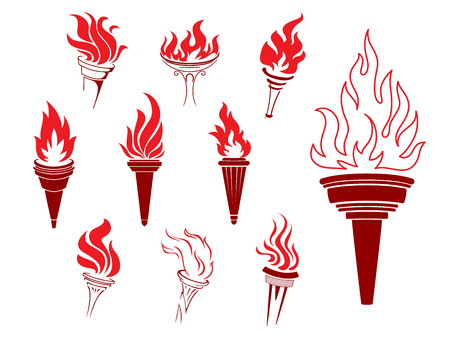 sconces: Collection of burning torches with flames in different shaped and sized sconces suitable as design elements Illustration