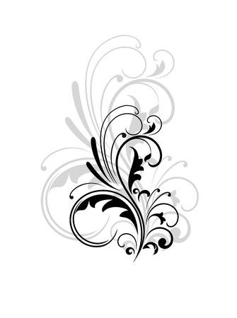 黒と白の装飾的なヴィンテージ旋回葉状の設計要素の背後にある灰色のより大きい繰り返す上にスーパーイン ポーズ