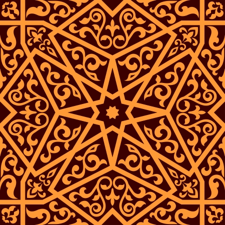 Apabian seamless pattern with a central star and floral elements in a square format suitable as a tile in shades of brown, vector illustration Vector