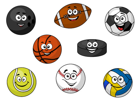 Cartoon illustration of a set of happy sporting balls and equipment with tennis, soccer, rugby, football, cricket, volleyball and an ice hockey puck Vector