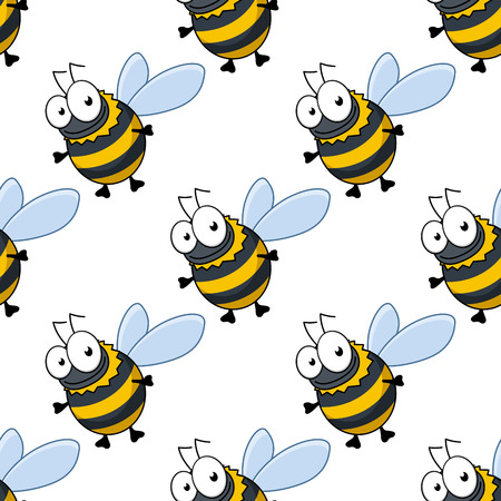 Seamless pattern of cute fat little honey bees or bumble bees with striped bodies in repeat diagonal rows suitable for print or fabric Vector