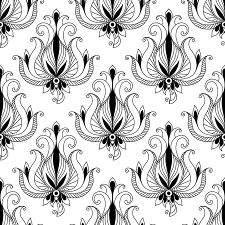 Beautiful intricate calligraphic floral arabesque seamless pattern with elegant flower motifs with scrolling curled leaves suitable for fabric such as damask or for print