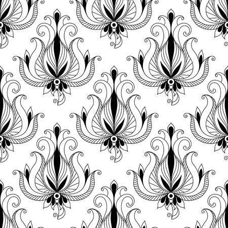 east indian: Hermosa intrincado patr�n arabesco floral caligr�fico sin fisuras con elegantes motivos florales con desplazamiento rizado deja adecuado para la tela tal como damasco o para la impresi�n