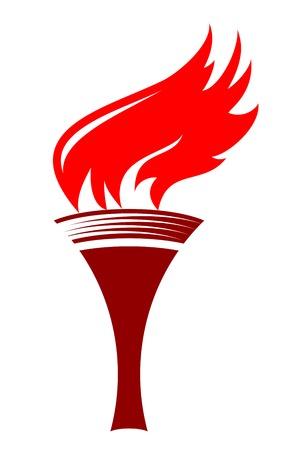 sconce: Ilustraci�n de dibujos animados de una antorcha de fuego basado en las antorchas de la antigua Grecia y Roma en un aplique simple en tonos de rojo y marr�n sobre fondo blanco