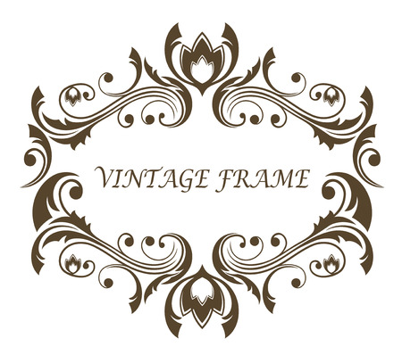 Vintage floral and foliate frame with symmetrical scrolling foliage around a blank central cartouche with copyspace, black and white vector
