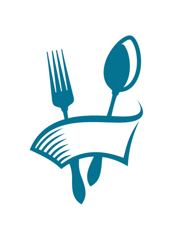 eatery: Restaurant , cafeteria or eatery icon with a blank banner wrapping around a spoon and fork in a simple cartoon design