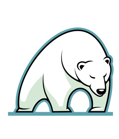 growling: Stylized illustration of a sleepy white polar bear standing, isolated on white background